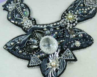 Black Diamonds- An exquisite hand bead embroidered Shibori Ribbon and Vintage jewelry necklace