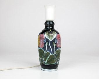 Tilgmans Ceramic Modern Lamp base. Table Lighting. Floral Decor Light. Ceramic Lamp Base. Sweden Keramik 50s 60s.