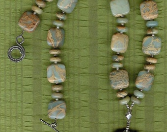 Forget Me Not - Carved Ribbon Jasper Elephant, Aqua Terra Jasper, Freshwater Pearls, Sterling Silver Necklace