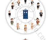 Pixel (8 bit) 13 Doctors with TARDIS and Gallifreyan Symbol