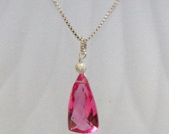 Hot Pink Topaz Gemstone Briolette Pendant in Solid Sterling Silver  , October Birthstone , Wedding , Bridal , Ready to Ship