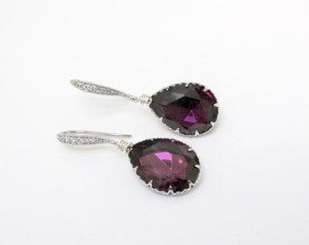 swarovski amethyst earrings , bridesmaids amethyst earrings , swarovski crystal earrings , amethyst dangle , wedding jewelry, bridal earring