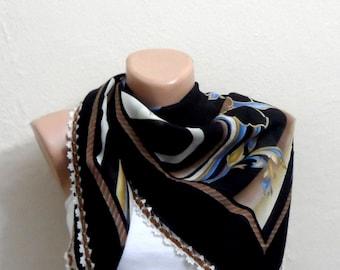 black scarf brown  flower blue white  cotton turkish yemeni oya handmade