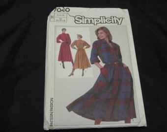 Simplicity 7040 Misses Size H (6 - 8 - 10)  Dress UNCUT pattern  1985