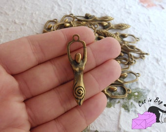 5 Charms pendant Goddess 43x12 mm antique bronze tone - SP43-4