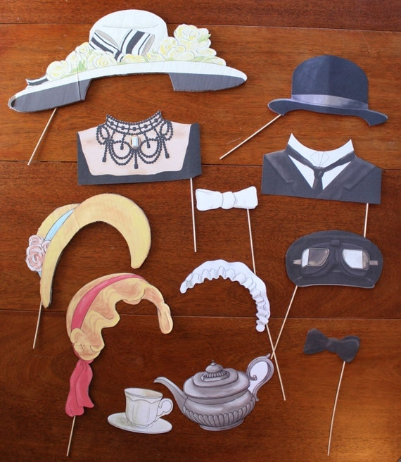 DIY Downton Abbey Inspired Photo Booth Props Printable