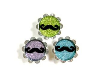 Petal Bottle Cap Magnets - Mustache - Set of 3