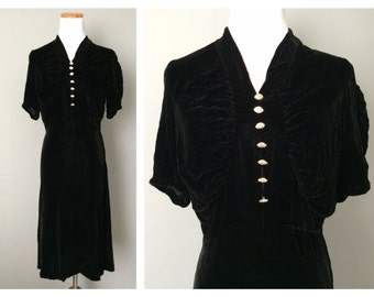 Vintage Silk Velvet Dress 1930s 1940s WW2 Art Deco Style Black Noir Cocktail Party Dress Rhinestone Buttons Blouse Top Size 0 2 4 XS Small