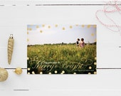 Faux Gold Confetti Holiday Photo Card     Merry and Bright     Personalized Christmas Card