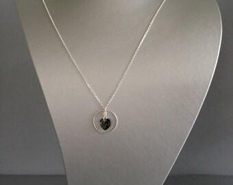 925 Silver Chain Swarovski Crystal Heart Bronze
