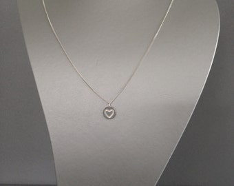 Engraved Heart Necklace 925 Silver