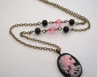 Skeleton cameo necklace Day of the Dead Gothic Lolita Skeleton Lady pink beaded