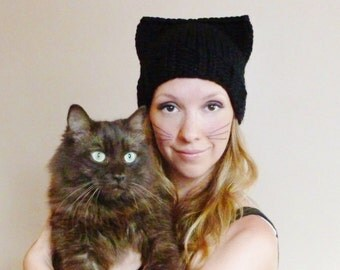 Black Cat Hat, Cat Beanie, Cat Ears Hat,  Women's Knit Hat, Knitted Cat Hat, Winter Fashion Accessories, Animal Ears Hat, Chunky Hat