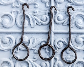 3 boot hooks,antique boot hooks, vintage boot hooks, boot lacing hook, button hook,