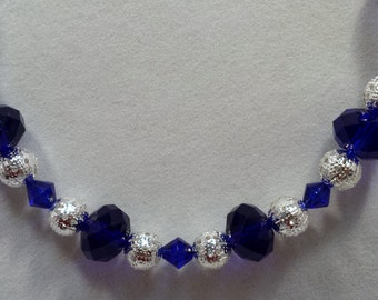 Electric blue and silver beaded necklace & earring set.