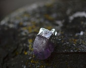 Raw Cut Natural Amethyst Pendant with Silver Plating Gemstone