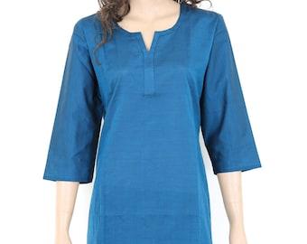 Indian Ethnic True Blue Cotton Top / Tunic / Kurti / Kurta / Kurthi / Kurtha - All Sizes - 903036