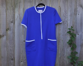 60s Plus Size Vintage Caron Petite Blue and White Dress With Pockets