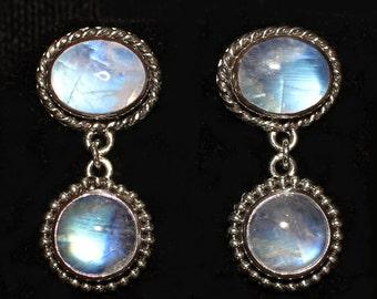 Rainbow Moonstone Post Earrings, Sterling Silver Rainbow Moonstone Earrings, Moonstone Dangle Post Earrings, Moonstone Jewelry: CLEOPATRA