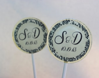 Wedding Favors, Personalized, Candy Lollipop, Custom, Edible Images, Lollipops, Monogram, Party Favors, -Set of Six