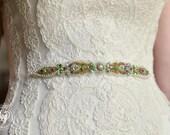 Wedding Crystal Beaded Satin Sash, Bridal Belt, Bridal Headpiece, Austrian Crystals, Swarovski, Rhinestone, Jewel Sash - Nurene Belt