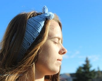 Blue Retro Tie Style Headband Ear Warmer