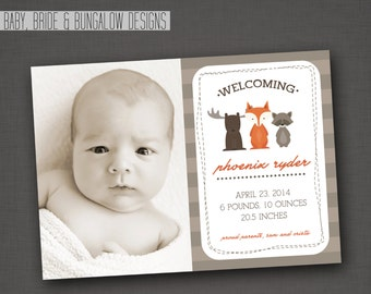 Woodland Creatures Photo Birth Announcement: 5x7, Printable and Customizable