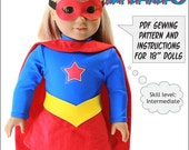 Pixie Faire Doll Tag Clothing Super Hero Doll Clothes Pattern for 18 inch American Girl Dolls - PDF