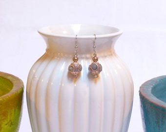 Gold / Mauve Dangle Earrings