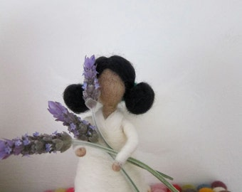Guardian- Angel- Needle Felted- waldorf- Standing doll-Lavender-  Nature table, Made to order