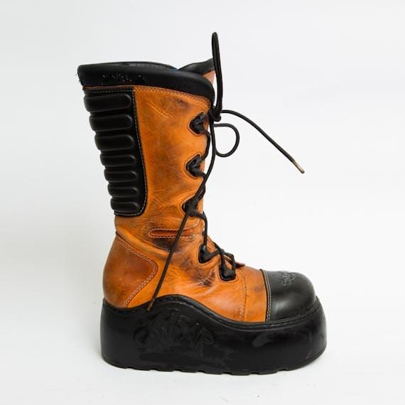 1990 s orange platform boots vintage swear black by