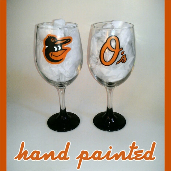 baltimore orioles hand painted wine glasses by