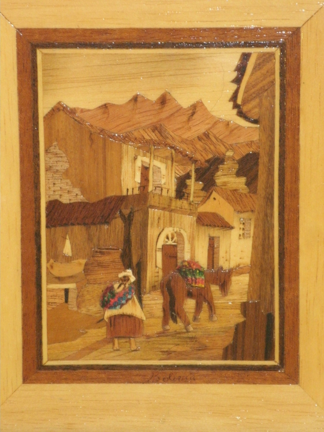 Inlaid Wood Picture Marquetry Inlay Handmade In Bolivia Native