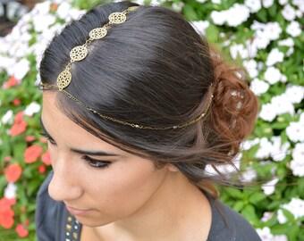 Head Chain // Bohemian Hair Accessory // Boho Headband // Statement Head Piece // Wedding Head Chain // Festival Head Jewelry