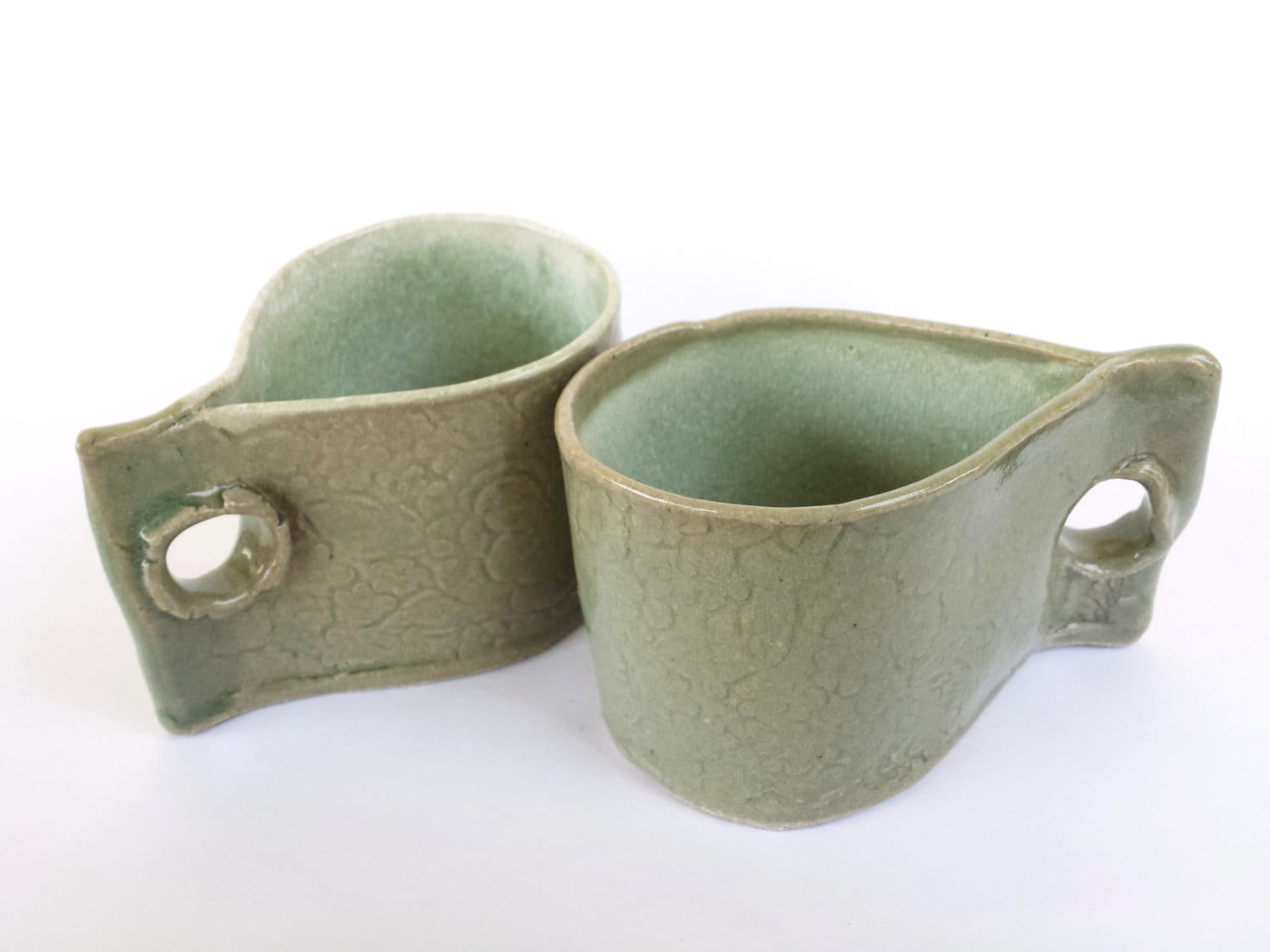 2 handmade mugs teacups with floral design celadon for Handmade mug designs