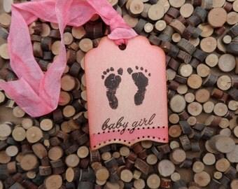 Baby Girl Tag, Baby Gift Tag, Baby Shower Tag, Gift Tag, Baby Footprints, Pink Baby Tag