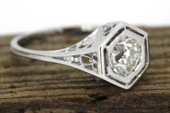 art deco engagement ring edwardian ring antique 18k white gold