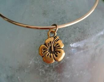 Adjustable bangle bracelet // hybiscus flower bracelet // hygiscus charm