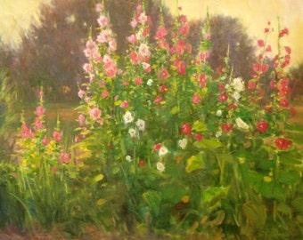 Karl Thomas Plein Air Painting Oil on Canvas Summer Hollyhocks Flowers Impressionist Large 30 x 40