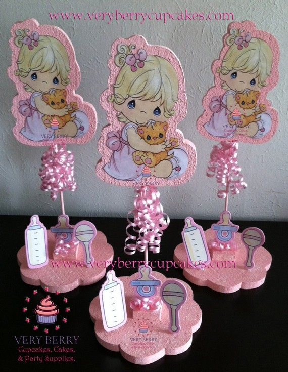 items similar to 3 precious moments baby girl glitter centerpieces on