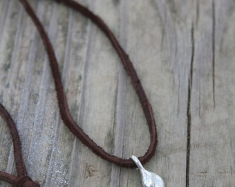 Handcrafted Recycled Sterling Silver Drop Necklace on Leather Cord - Tiny Raindrop Pendant for Earthy Outdoor Lover