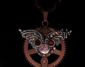 Steampunk Clock Gear with Wings and Stones Necklace