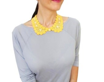 20 % Off, Yellow Peter Pan Collar, Vintage Style, Preppy, Beaded Detachable collar