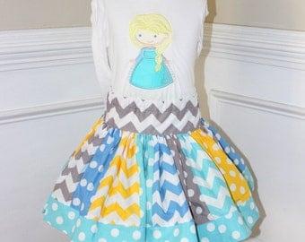 Frozen Elsa outfit  Elsa Birthday outfit girl skirt aqua, blue, yellow and gray chevron polka dot clothing chevron skirt Frozen Elsa
