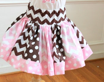 Girls skirt pink brown skirt girls chevron skirt  winter skirt holiday clothing skirt outfit set girls toddler baby pink and brown