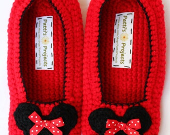 Minnie Mouse Inspired slippers - Adult Sizes