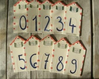House Number,Ceramic House Tile,Rustic Decor,Outdoor Numbers,MADE TO ORDER,Ceramic House Numbers,Porch Decor,Mediterranean,Home Address
