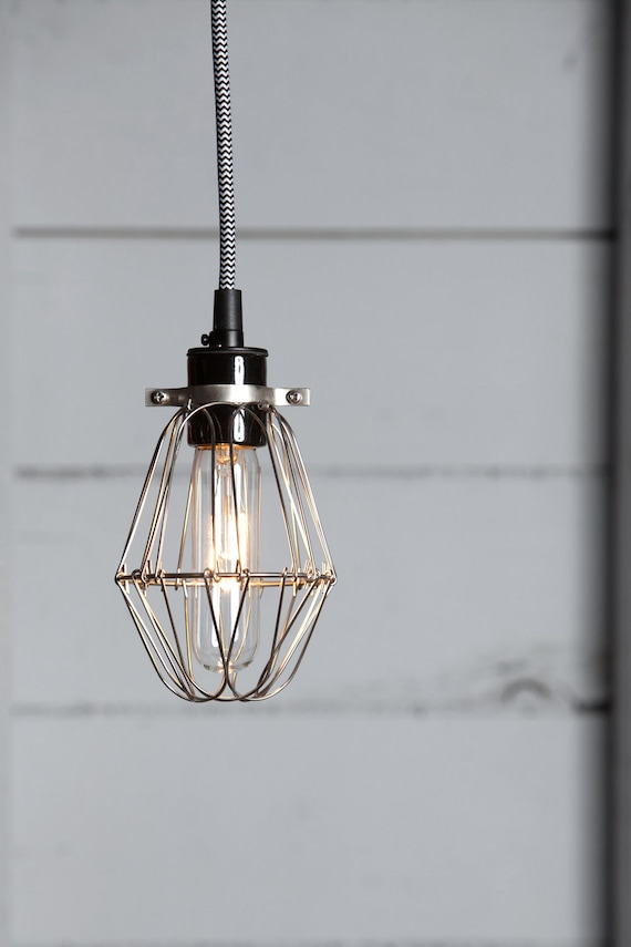 Industrial Lighting   Vintage Wire Cage Light Pendant