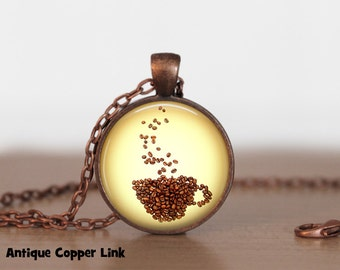 Coffee Beans Cup Necklace Coffee Pendant Necklace or Coffee Keyring Coffee Jewelry Java