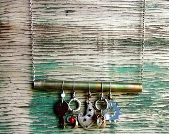 N179 Steampunk Antique Watch Parts Industrial Chandelier Statement Necklace -- FREE SHIPPING